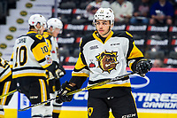 REGINA, SK - MAY 18: Isaac Nurse #11 of Hamilton Bulldogs warms up against the Regina Pats at the Brandt Centre on May 18, 2018 in Regina, Canada. (Photo by Marissa Baecker/Shoot the Breeze)