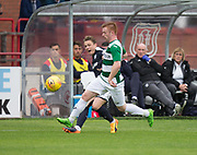 Dundee&rsquo;s Scott Allan curls in a cross despite the attentions of Buckie Thistle&rsquo;s Ceiran McLean - Dundee v Buckie Thistle, Betfred Cup at Dens Park, Dundee, Photo: David Young<br /> <br />  - &copy; David Young - www.davidyoungphoto.co.uk - email: davidyoungphoto@gmail.com