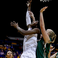 Mar 24, 2013; Baton Rouge, LA, USA; Penn State Lady Lions forward/center Nikki Greene (54) shoots over Cal Poly Mustangs center Molly Schlemer (43) in the second half during the first round of the 2013 NCAA womens basketball tournament at the Pete Maravich Assembly Center. Penn State defeated Cal Poly 85-55. Mandatory Credit: Derick E. Hingle-USA TODAY Sports