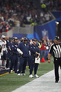 New England Patriots offensive line coach Dante Scarnecchia in action during the NFL Super Bowl 53 football game against the Los Angeles Rams on Sunday, Feb. 3, 2019, in Atlanta. The Patriots defeated the Rams 13-3. (©Paul Anthony Spinelli)