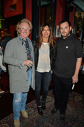 JOHN ERMATINGER Chief Executive Officer at True Religion Apparel, ROSELLA GIULIANI and MIKE SKINNER at the True Religion House Party held at 48 Greek Street, Soho, London on 2nd June 2016.