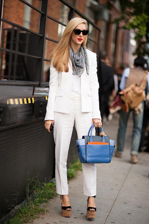 Joanna Hillman in a White Suit, Outside Rodarte