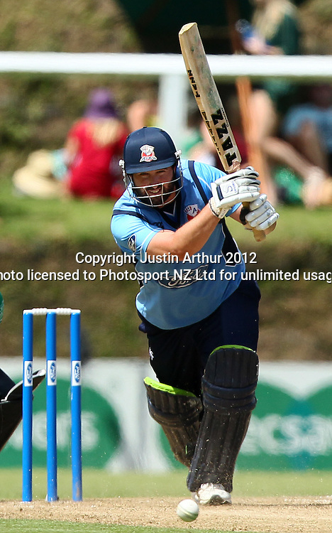 Neal Parlane in action. Ford Trophy Final - Men's domestic one day cricket, Central Stags v Auckland Aces, Pukekura Park, New Plymouth, New Zealand on Sunday 12 February 2012. Photo: Justin Arthur / Photosport.co.nz