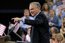 Philadelphia, Pennsylvania, USA - July 29, 2016; Democratic vice presidential nominee U.S. Sen. Tim Kaine, joined by Democratic presidential nominee former Secretary of State Hillary Clinton hold a Post-DNC rally at Temple University in Philadelphia, PA after which they commence on a joined bus tour, kicking of the lasting 100-days till the General Elections.