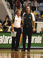 Gordon McLeod & Brian Goorjian talk during the game.Ramsay Shield, Australia Post Boomers v New Zealand, Game 2, 2008.  Played at the State Netball & Hockey Centre. Australian Post Boomers defeated New Zealand. .Photo: Joel Strickland / SMP Images.Use information: This image is intended for Editorial use only (e.g. news or commentary, print or electronic). Any commercial or promotional use requires additional clearance.