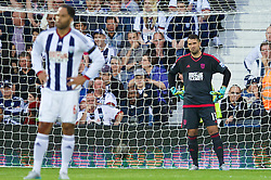 WEST BROMWICH, ENGLAND - Monday, August 10, 2015: West Bromwich Albion's goalkeeper Boaz Myhill looks dejected as Manchester City score the opening goal during the Premier League match at the Hawthorns. (Pic by David Rawcliffe/Propaganda)