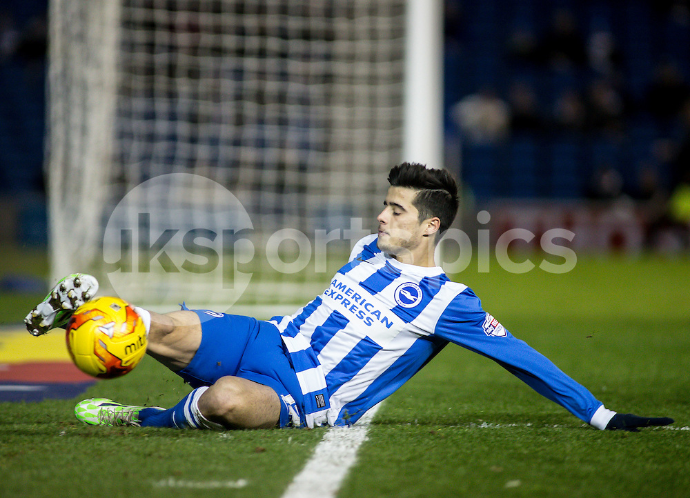 Joao Teixeira of Brighton during the Sky Bet Championship match between Brighton and Hove Albion and Millwall at the AMEX Stadium, Brighton, England on 12 December 2014. Photo by Liam McAvoy.