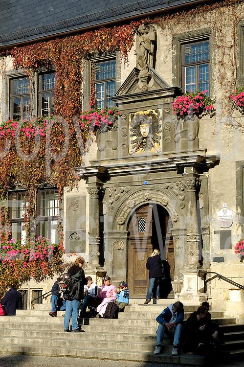 UNESCO-Welterbestätte Quedlinburg..Rathaus am Markt, Portal