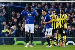 Everton's Romelu Lukaku reacts after missing a chance - Photo mandatory by-line: Matt McNulty/JMP - Mobile: 07966 386802 - 26/02/2015 - SPORT - Football - Liverpool - Goodison Park - Everton v Young Boys - UEFA EUROPA LEAGUE ROUND OF 32 SECOND LEG