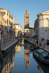 A view of a canal near the church of San Barnaba in Venice. From a series of travel photos in Italy. Photo date: Sunday, February 10, 2019. Photo credit should read: Richard Gray/EMPICS