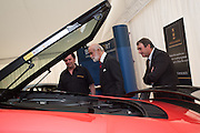 MIKE RUTHERFORD;  PRINCE MICHAEL OF KENT; NIGEL MANSELL, Preview for The London Motor Show, Battersea Evolution. London. 5 May 2016