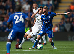 Ruben Neves of Wolverhampton Wanderers (C) gets caught in the face by James Maddison of Leicester City (R) - Mandatory by-line: Jack Phillips/JMP - 18/08/2018 - FOOTBALL - King Power Stadium - Leicester, England - Leicester City v Wolverhampton Wanderers - English Premier League
