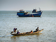 10 NOVEMBER 2014 - SITTWE, MYANMAR: Boats off the pier in Sittwe, Myanmar. Sittwe is a small town in the Myanmar state of Rakhine, on the Bay of Bengal.    PHOTO BY JACK KURTZ