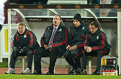 LILLE, FRANCE - Thursday, March 11, 2010: Liverpool's manager Rafael Benitez on the bench with assistant manager Sammy Lee and first team coach Mauricio Pellegrino during the UEFA Europa League Round of 16 1st Leg match against LOSC Lille Metropole at the Stadium Lille-Metropole. (Photo by David Rawcliffe/Propaganda)