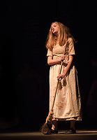Kathryn Osburn as Cosette during dress rehearsal for Les Miserables with Gilford High School on Thursday evening.  (Karen Bobotas/for the Laconia Daily Sun)