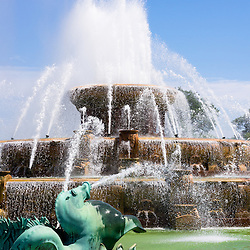 Clarence F. Buckingham Memorial Fountain in Chicago is located in Grant Park and is one of Chicago's most popular and well known attractions. Photo is high resolution vertical and was taken in May 2012.