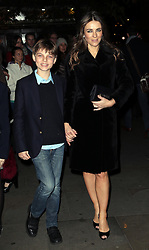 Elizabeth Hurley and son   arriving  at the English National Ballet Christmas party in  London, Thursday, 12th December 2013. Picture by Stephen Lock / i-Images