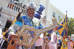 """""""King Momo"""" Wilson Neto shows the ceremonial key of Rio de Janeiro during the official opening ceremony of Rio de Janeiro's 2015 Carnival at the City Palace in Rio de Janeiro, Brazil, Feb. 13, 2015. EXPA Pictures © 2015, PhotoCredit: EXPA/ Photoshot/ Xu Zijian<br /> <br /> *****ATTENTION - for AUT, SLO, CRO, SRB, BIH, MAZ only*****"""