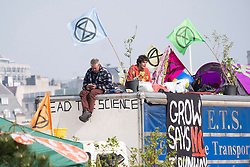 © Licensed to London News Pictures. 18/04/2019. London, UK.  Protesters from the Extinction Rebellion group contimue to occupy Waterloo Bridge for a forth day. The protesters are demanding urgent action from governments on climate change. Photo credit: Ray Tang/LNP