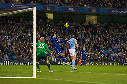 MANCHESTER, ENGLAND - Monday, February 25, 2008: Everton's Jolean Lescott scores the second goal against Manchester City's goalkeeper Joe Hart with a dipping header that goes in off the post during the Premiership match at the City of Manchester Stadium. (Photo by David Rawcliffe/Propaganda)