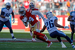 SANTA CLARA, CA - DECEMBER 17: Wide receiver Kendrick Bourne #84 of the San Francisco 49ers rushes up field past cornerback Logan Ryan #26 of the Tennessee Titans during the second quarter at Levi's Stadium on December 17, 2017 in Santa Clara, California.  (Photo by Jason O. Watson/Getty Images) *** Local Caption *** Kendrick Bourne; Logan Ryan