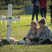 FRIDAY, FEBRUARY 16- 2018---PARKLAND, FLORIDA--<br /> A temporary memorial is visited by well wishers in Parkland's Pine Trails Park to honor the victims of the  school massacre at Marjory Stonemason Douglass High School. <br /> (Photo by Angel Valentin/FREELANCE)