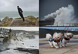 © Licensed to London News Pictures. Date 08/02/2014. Sennen Cove, UK. A man floating in the air as he uses his jacket to cat gale force winds as a storm hits the seafront at Sennen Cove at the Western tip of Cornwall. Photo credit : Mark Hemsworth/LNP