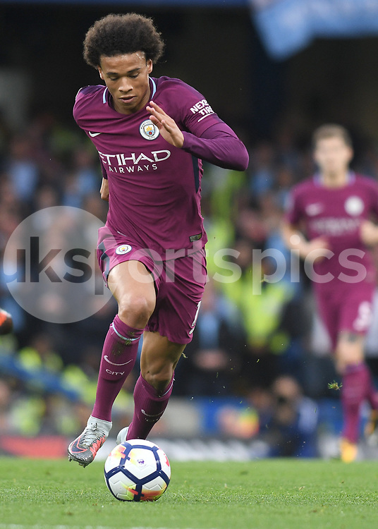 Leroy Sané of Manchester City in action during the Premier League match between Chelsea and Manchester City at Stamford Bridge, London, England on 30 September 2017. Photo by Vince Mignott.