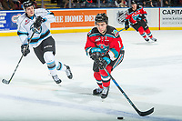 KELOWNA, CANADA - DECEMBER 2: Dillon Dube #19 of the Kelowna Rockets skates with the puck over the blue line against the Kootenay Ice on December 2, 2017 at Prospera Place in Kelowna, British Columbia, Canada.  (Photo by Marissa Baecker/Shoot the Breeze)  *** Local Caption ***