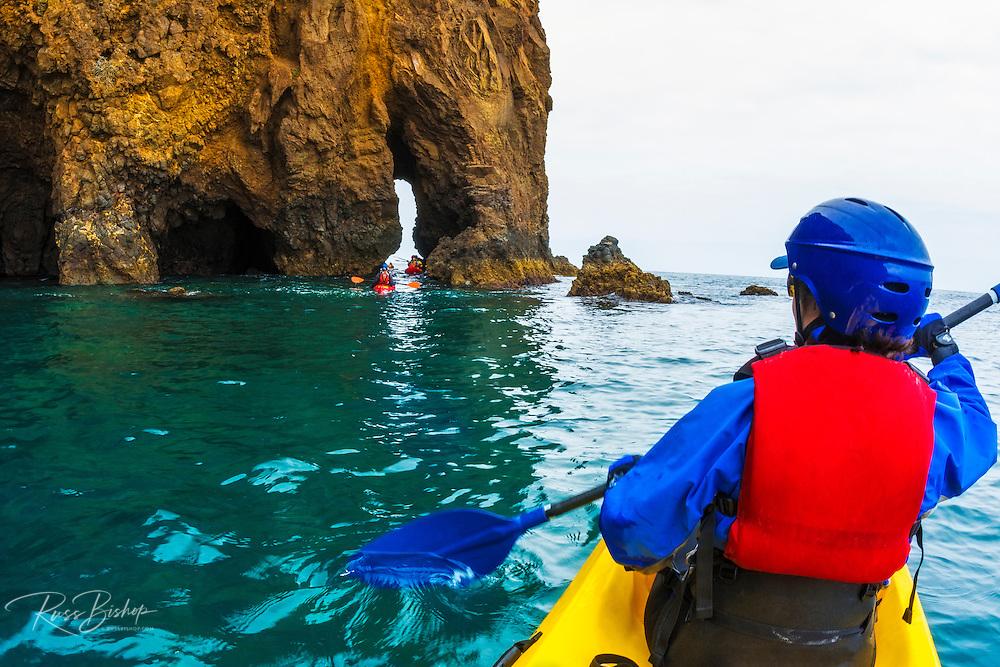 Sea kayaking on Santa Cruz Island, Channel Islands National Park, California