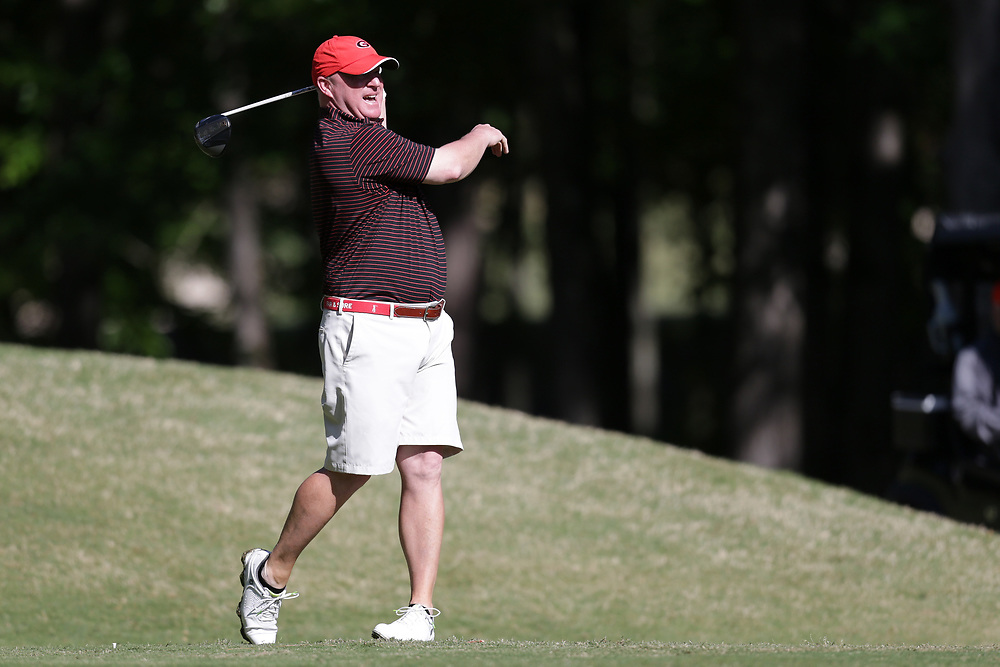 David Dukes tees off during the Chick-fil-A Peach Bowl Challenge at the Oconee Golf Course at Reynolds Plantation, Sunday, May 1, 2018, in Greensboro, Georgia. (Marvin Gentry via Abell Images for Chick-fil-A Peach Bowl Challenge)