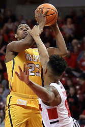 27 January 2018:  Mileek McMillan gets hacked by Phil Fayne during a College mens basketball game between the Valparaiso Crusaders and Illinois State Redbirds in Redbird Arena, Normal IL