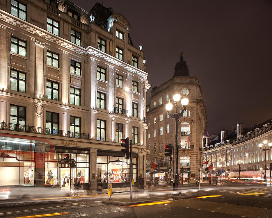Regent street london. dusk. night. lighting. acdc. led.