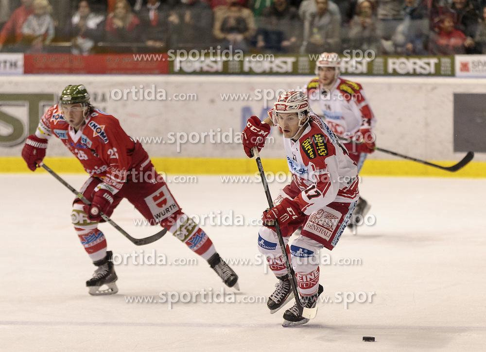 04.10.2015, Eiswelle, Bozen, ITA, EBEL, HCB Suedtirol vs EC KAC, 8. Runde, im Bild v.l. Joel Broda (HCB Suedtirol), Manuel Ganahl (EC KAC) // during the Erste Bank Icehockey League 8th round match between HCB Suedtirol and EC KAC at the Eiswelle in Bozen, Italy on 2015/10/04. EXPA Pictures © 2015, PhotoCredit: EXPA/ Johann Groder