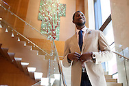Dexter Fowler poses walking down the stairway of the Four Seasons in Denver, Colorado on June 28, 2013 for Sharp Magazine.