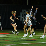 23 March 2018: San Diego State Aztecs midfielder Bailey Brown celebrates after scoring what would be the game winning goal in the second half. The Aztecs beat the Lady Flames 11-10 Friday night. <br /> More game action at sdsuaztecphotos.com