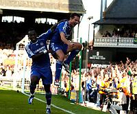 Photo: Daniel Hambury.<br />Fulham v Chelsea. The Barclays Premiership. 23/09/2006.<br />Chelsea's Frank Lampard (R) celebrates his second goal with Michael Essien.0-2.