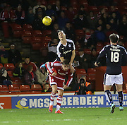 Dundee&rsquo;s Thomas Konrad heads clear from Aberdeen&rsquo;s David Goodwillie - Aberdeen v Dundee, Ladbrokes Premiership at Pittodrie<br /> <br />  - &copy; David Young - www.davidyoungphoto.co.uk - email: davidyoungphoto@gmail.com