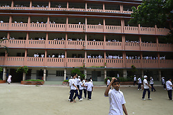 July 23, 2017 - Dhaka, Bangladesh - Bangladeshi school students walking on the school ground at class break time in Dhaka city, Bangladesh on July 23, 2017. (Credit Image: © Str/NurPhoto via ZUMA Press)