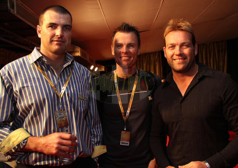 Justin Kemp of the Cape Cobras, Johan Botha of the Warriors and Jacques Kallis of the Kolkata Knight Riders during the opening night concert of the CLT20 held at the Bangalore Palace Grounds in Bangalore, Karnataka, India on the 22nd September 2011..Photo by Shaun Roy/BCCI/SPORTZPICS