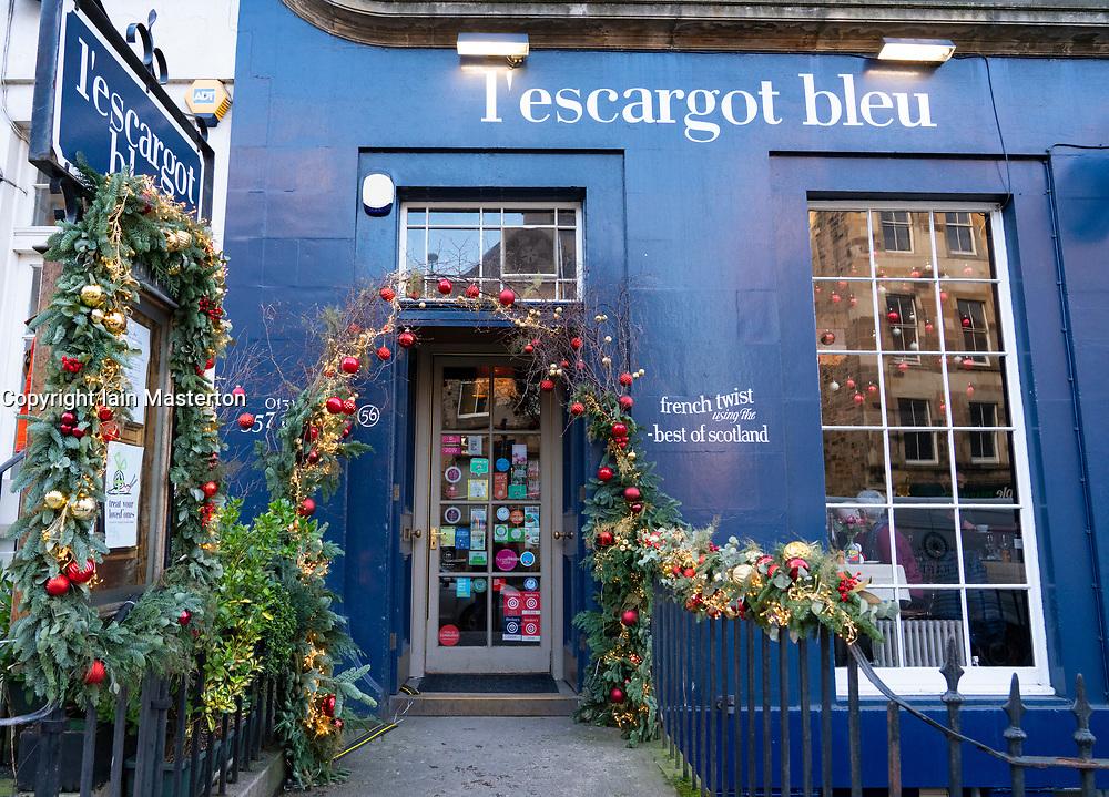 Exterior of L'Escargot Bleu French / Scottish restaurant on Broughton Street in Edinburgh, Scotland, UK