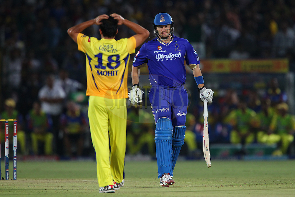 Shane Watson walks to the middle after making a four from Mohit Sharma during match 61 of the Pepsi Indian Premier League ( IPL) 2013  between The Rajasthan Royals and the Chennai SUperkings held at the Sawai Mansingh Stadium in Jaipur on the 12th May 2013..Photo by Ron Gaunt-IPL-SPORTZPICS ..Use of this image is subject to the terms and conditions as outlined by the BCCI. These terms can be found by following this link:..http://www.sportzpics.co.za/image/I0000SoRagM2cIEc