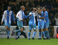Photo: Paul Greenwood.<br />Chester City v Hereford United. Coca Cola League 2. 12/10/2007.<br />Chester goal scorer Simon Yeo (8) is mobbed by team mates after opening the scoring