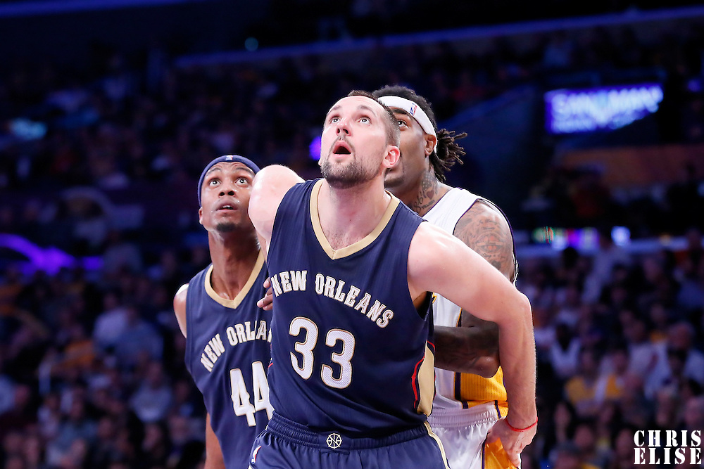 07 December 2014: New Orleans Pelicans forward Ryan Anderson (33) vies for the rebound with Los Angeles Lakers center Jordan Hill (27) during the New Orleans Pelicans 104-87 victory over the Los Angeles Lakers, at the Staples Center, Los Angeles, California, USA.