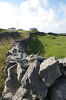 Stone wall dividing fields on Inis Mor, The Aran Islands, County Galway, Ireland