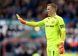 """Everton goalkeeper Jordan Pickford during the Premier League match at the John Smith's Stadium, Huddersfield. PRESS ASSOCIATION Photo. Picture date: Saturday April 28, 2018. See PA story SOCCER Huddersfield. Photo credit should read: Nigel French/PA Wire. RESTRICTIONS:  EDITORIAL USE ONLY No use with unauthorised audio, video, data, fixture lists, club/league logos or """"live"""" services. Online in-match use limited to 75 images, no video emulation. No use in betting, games or single club/league/player publications."""