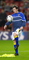 LIVERPOOL, ENGLAND - Wednesday, October 31, 2007: Cardiff City's Robbie 'God' Fowler warms-up before the League Cup 4th Round match against Liverpool at Anfield. (Photo by David Rawcliffe/Propaganda)