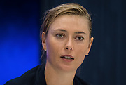 Maria Sharapova of Russia talks to the media after winning her first round match at the 2018 US Open Grand Slam tennis tournament, at Billie Jean King National Tennis Center in Flushing Meadow, New York, USA, August 28th 2018, Photo Rob Prange / SpainProSportsImages / DPPI / ProSportsImages / DPPI