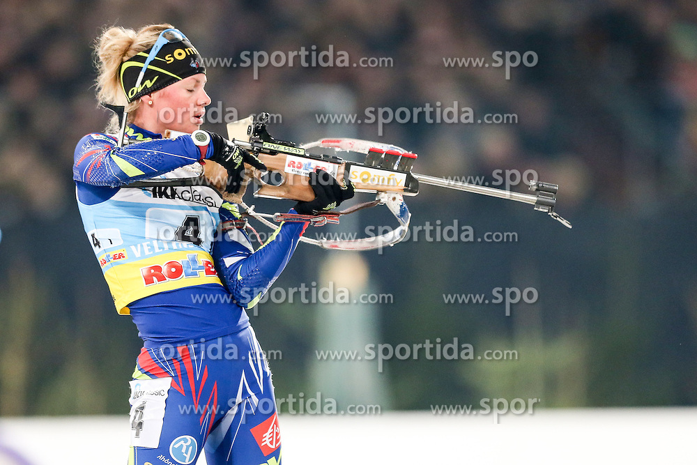 28.12.2015, Veltins Arena, Gelsenkirchen, GER, IBU Weltcup Biathlon, auf Schalke, im Bild Marie Dorin-Habert (Frankreich/FR) // during the IBU Biathlon World Cup at Veltins Arena in Gelsenkirchen, Germany on 2015/12/28. EXPA Pictures &copy; 2015, PhotoCredit: EXPA/ Eibner-Pressefoto/ Kohring<br /> <br /> *****ATTENTION - OUT of GER*****