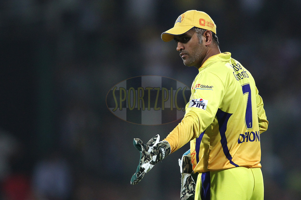 MS Dhoni captain of The Chennai Super Kings during match 26 of the Pepsi Indian Premier League Season 2014 between the Delhi Daredevils and the Chennai Super Kings held at the Feroze Shah Kotla cricket stadium, Delhi, India on the 5th May  2014<br /> <br /> Photo by Shaun Roy / IPL / SPORTZPICS<br /> <br /> <br /> <br /> Image use subject to terms and conditions which can be found here:  http://sportzpics.photoshelter.com/gallery/Pepsi-IPL-Image-terms-and-conditions/G00004VW1IVJ.gB0/C0000TScjhBM6ikg